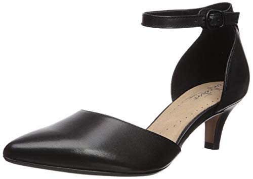 Clarks womens Linvale Edyth Pump, Black Leather, 8.5 US