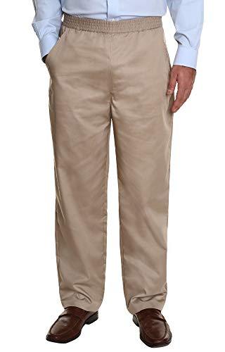 Ruxford Elastic Waist Pants for Men | No Zipper Pull on Pants & Casual Dress Slacks Tan