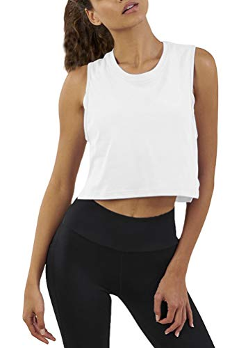 Mippo Women's Crop Top Workout Shirts Loose Flowy Muscle Tank Athletic Crop Tank Top