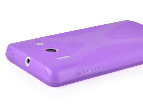 Cadorabo Hülle für Huawei Ascend Y300 - Hülle in Flieder VIOLETT – Handyhülle aus flexiblem TPU Silikon im X-Line Design - Silikonhülle Schutzhülle Soft Back Cover Case Bumper - 6