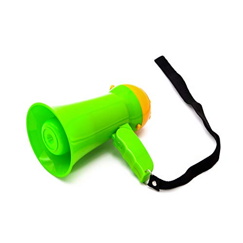 BEMLDY Mini Portable Megaphone Bullhorn with Siren, Voice Recorder and Adjustable Volume. Handheld Mic Toy,Ideal for Fans Cheering of Football, Soccer, Baseball, Hockey, Basketball (Green)