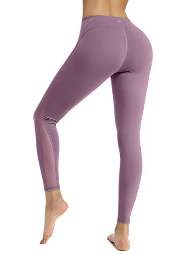 HAPYWER Sporthose Damen Yoga Training Gym Sport Leggings Lang Blickdicht Yogahosen(Leichtes Purple,M)