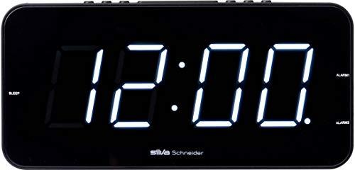Silva-Schneider UR-D 901 Radiowecker, Wecken mit Radio oder Alarm, helle dimmbare LED Anzeige, Schwarz
