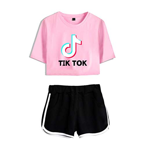 Women's TIK TOK Top T-Shirt with Shorts 2Pcs Set of Tracksuit Sportwear Suit for Girls Ladies (Pink with Black, Small)