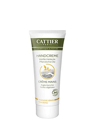 Cattier Handcreme mit weiβer Heilerde, für trockene Hände, zertifizierte Naturkosmetik, 75 ml