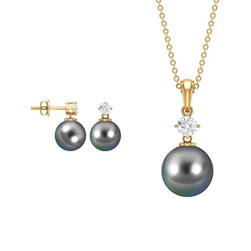 Juego de collar y pendientes de perlas de corte redondo 16.97, joyas de perlas de Tahití negro, pendientes de tuerca de moissanita, collares con colgante de gota, 14K Oro amarillo, perla tahitiana-10