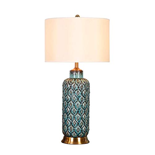 Lámpara de Mesa de cerámica Vintage Azul China de 26 Pulgadas de Alto con Pantalla de Tela Hecha a Mano Base de Cobre Puro para Sala de Estar, Dormitorio, Estudio, Hotel, E27