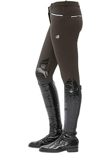 SPOOKS Damen Reithose Kniebesatz, Damenreithose Reithosen Turnierreithose Kniebesatzreithose Reiterhosen - Ricarda Knee Grip Chocolate m