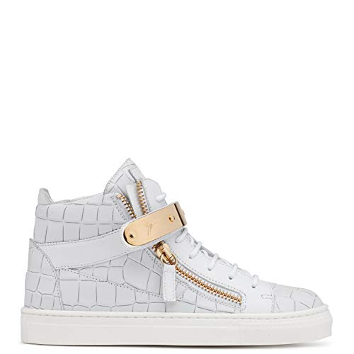 ZANOTTI Sneakers Alta in Pelle Bianca Stampo Cocco (28 EU)