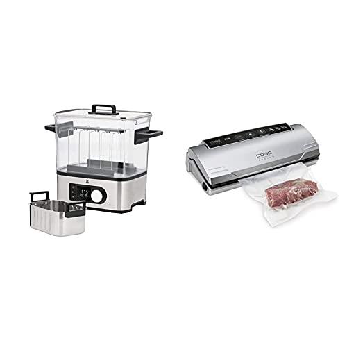 WMF LONO 2in1 Sous Vide Garer Pro mit Slow-Cook Einsatz, Vakuum garen, Wasserbhälter 6,0l, 1500W & CASO VC10 Vakuumierer - Vakuumiergerät, Lebensmittel vakuumiert bis zu 8x länger frisch, 30cm lange