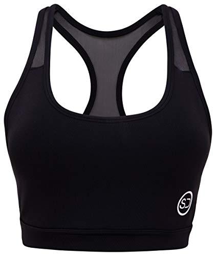 Sundried Premium Sujetador de los Deportes Running Fitness, Yoga Acolchado de Cultivos Entrenamiento Superior (XL, Negro)