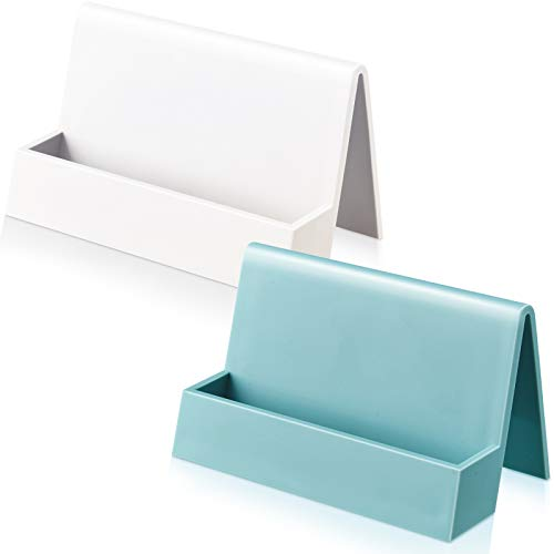 2 Pieces Business Card Holder for Desk Modern Plastic Name Card Case Display Stand Tabletop Business Card Rack for Women and Men (White, Light Blue)