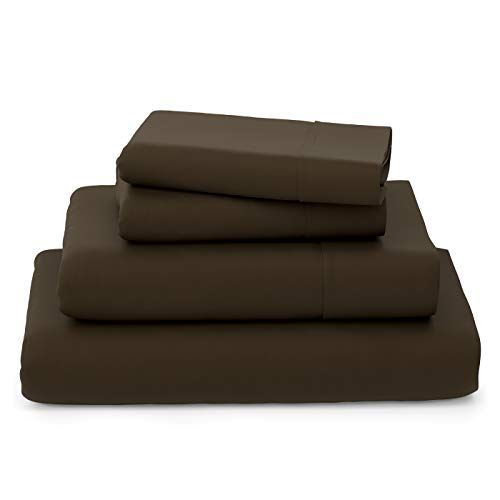Cosy House Collection Luxury Bamboo Bed Sheet Set - Bedding Blend from Natural Bamboo Fiber - Resists Wrinkles - 4 Piece - 1 Fitted Sheet, 1 Flat, 2 Pillowcases - Queen, Chocolate