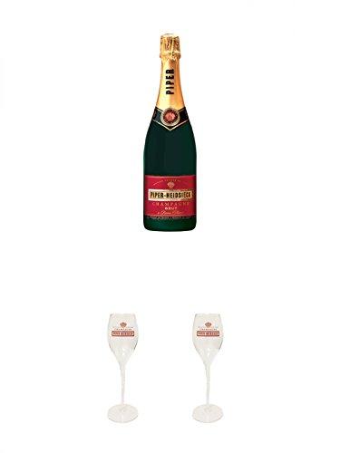 Piper-Heidsieck Brut Champagner 0,75 Liter + 2 Stück Piper-Heidsieck Glas mit Schriftzug und Eichstrich