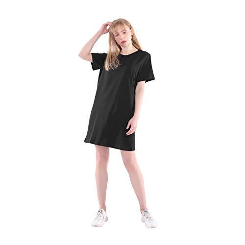 Läng T Shirt Damen Sommer Baumwolle Weiß Schwarz Locker Basic Hauskleid Nachtshirt Nachthemd Tunika Oberteil Oversize (Schwarz, Medium)