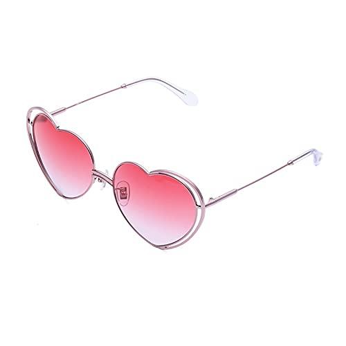 Gafas de sol para mujer con forma de corazón para mujer, marco de metal irregular, con forma de corazón, gafas polarizadas con protección UV, marco cómodo (color: rosa)