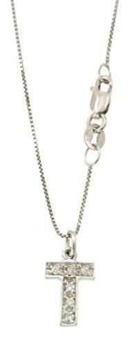 Iniziale in oro bianco 750 18kt con catenina veneziana - Orolab N259
