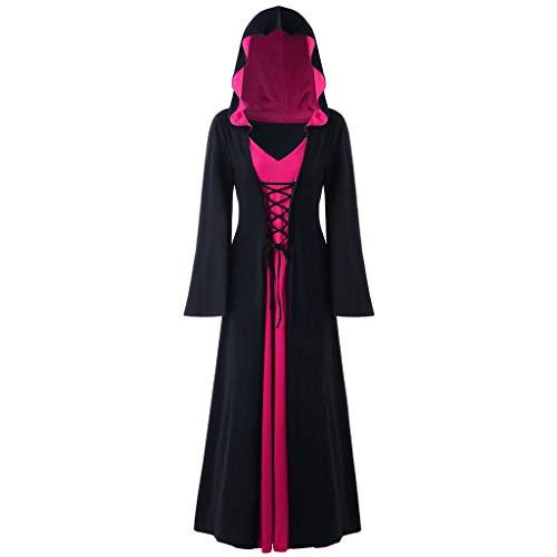 iCerber Halloween Karneval Kleider Damen Langarm Mit Kapuze Mittelalterliches Kleid Bodenlangen Cosplay Kleid Viktorianischen Königin Kleider Gothic Retro Fasching Fasnacht Party Kleid (S,Pink)