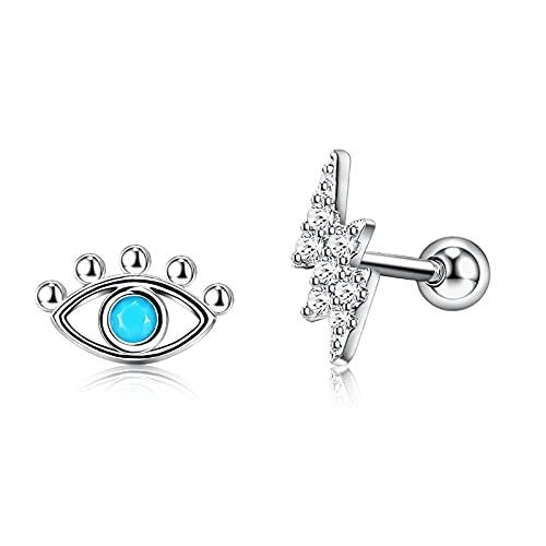 Pendiente de botón para mujer 925 con incrustaciones de plata de ley Opale Eye y Zirconia cúbica Pendientes con forma de rayo Joyería fina