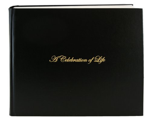 "BookFactory Leather Funeral Guest Book""A Celebration of Life"" / Memorial Book/Memorial Guest Book (48 Pages - 8 7/8"" x 7�), Black Leather, Smyth Sewn Hardbound (LOG-048-97CS-AKT64-(Funeral-REG))"