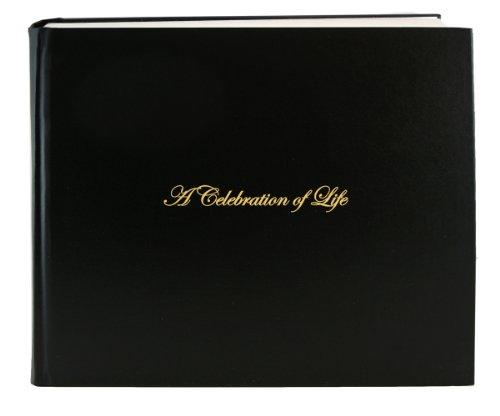 "BookFactory Leather Funeral Guest Book""A Celebration of Life"" / Memorial Book/Memorial Guest Book (48 Pages - 8 7/8"" x 7""), Black Leather, Smyth Sewn Hardbound (LOG-048-97CS-AKT64-(Funeral-REG))"
