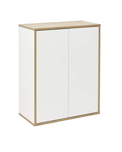 FACKELMANN Doppel-Midischrank Finn/Badschrank mit Push-to-Open/Maße (B x H x T): ca. 60 x 75 x 30,5 cm/Schrank fürs Bad mit 2 Türen/Korpus: Weiß/Front: Weiß/Rahmendekor: Braun hell