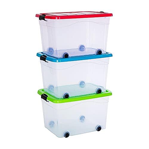 PREMIUM 3er XXL Set Aufbewahrungsbox Spielzeug Organizer mit Deckel und Rollen 60 Liter stapelbar in 3 Verschiedenen Farben. Ideal für Büro, Kinderzimmer, Küche & Werkstatt (3 x 60 Liter)