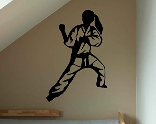 Pegatina de pared de luchador de Judo japonés, decoración del hogar, sala de estar, lucha, chica, calcomanía deportiva de pared, vinilo extraíble, tatuaje de pared-66x59cm