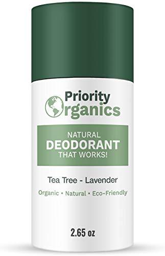Priority Organics - CLEARANCE - 24 Hour Fresh Scent - Aluminum Free Deodorant - Natural Deodorant - Organic Deodorant - Deodorant for Men & Women - Non Toxic Deodorant (Tea Tree - Lavender, 2.65)