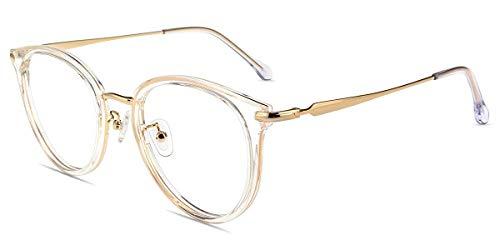 Firmoo Anti Blaulicht Brille Blaulichtfilter Computer Brille Gegen Augenmüdigkeit, Kopfschmerzen,Vintage Runde Unisex Brille mit Blaulichtfilter (Transparent, 51)
