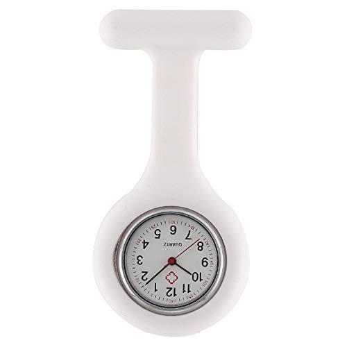 Cxypeng Pulsuhr Kitteluhr Pflegeuhr,Mode Digitale Silikon Krankenschwester Uhr, Damenuhr Quarzuhr für Ärzte nur-weiß,Schwesternuhr mit Pin/Clip
