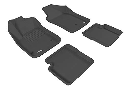 3D MAXpider Complete Set Custom Fit All-Weather Floor Mat for Select Fiat 500 Models - Kagu Rubber (Black)