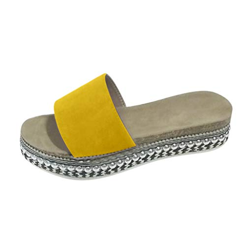 Hausschuhe Damen Sommer Freizeit Open Toe Sandalen Slip On Rivet Flats Strandschuhe (35,Gelb)