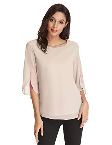Damen Chiffon Bluse Langarm Rundhals Loose Fit Casual Sommer Tops M Beige CLAF15-2