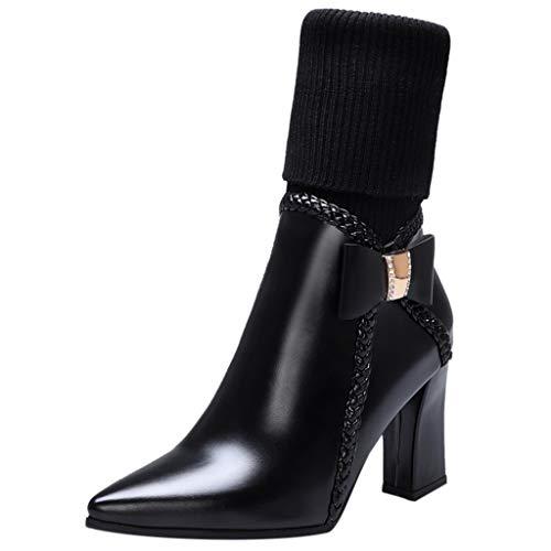 ZOODF Botas Invierno Mujer Tacón Alto Cabeza Puntiaguda tacón Grueso Calentar Botas de Mujer Botas de Lana con Lazo Zapatos de tacón Moda Sexy Heel Shoes(Negro,36 EU)