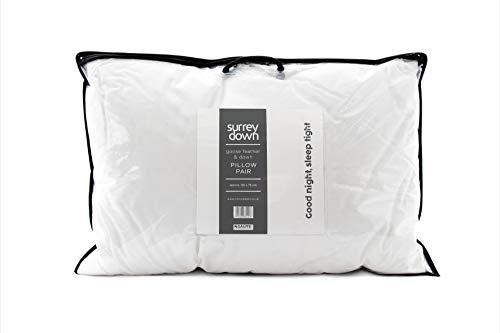 Surrey Down - Juego de 2 Almohadas de Plumas de Ganso (50 x 75 cm), Color Blanco
