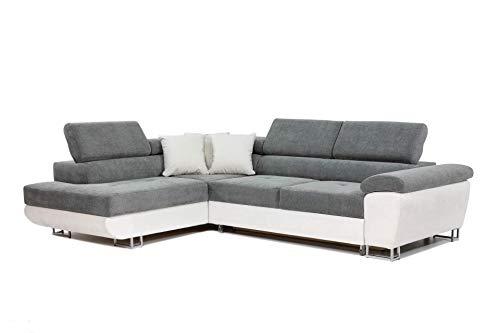 Honeypot - Sofa - Anton - Storage - sofa bed - Black/grey - White/grey - All grey - Faux leather/fabric (White/Grey, Left hand corner)