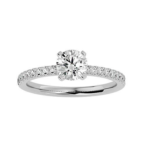Anillo de oro de 18 quilates con diamante de moissanita de corte redondo (0,83 qt) Diamante natural de corte redondo (0,216 ct) con anillo de compromiso de oro blanco/amarillo/rosa para mujer