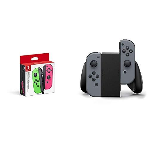 Joy-Con 2er-Set Neon-Grün/Neon-Pink & PowerA Nintendo Switch Joy-Con Comfort Grip (Schwarz)