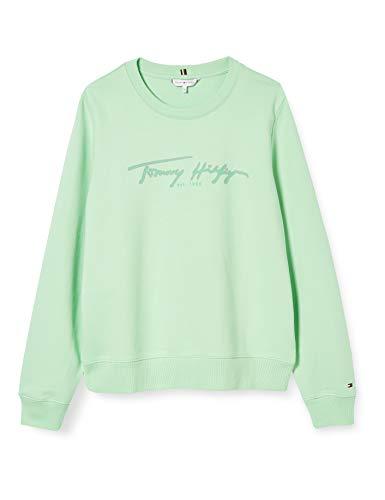 Tommy Hilfiger Damen Bobo Regular C-nk Sweatshirt Ls Pullover, Grün (Neo Mint), M