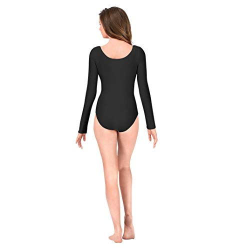 IBAKOM Damen U-Ausschnitt Lycra Langarm Body Ballett Tanz Trikot Bodysuit Yoga Sporttraining Gymnastik Ballsaal Kostüm Schwarz 3XL