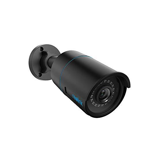 Reolink 5MP Cámara de Vigilancia PoE Exterior con Detección de Personas/Vehículos, Cámara IP Resistencia al Agua IP66, Lapso de Tiempo, Grabación de Audio, con Ranura para Tarjeta SD RLC-510A - Negra