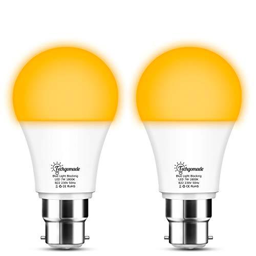 7W Amber Yellow White Light Bulb, Techgomade B22 Blue Light Blocking LED...