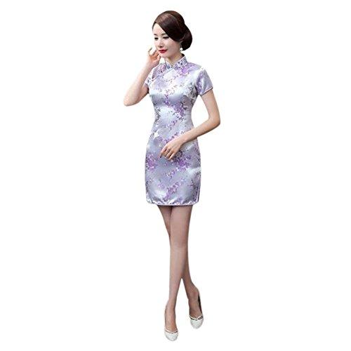Zhuhaixmy Chinesisch Traditionell Frauen Retro Blumen gedruckt Kurzarm Cheongsam Brokat Qipao Abendkleid L