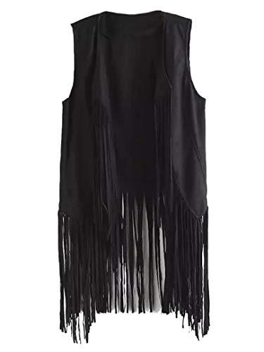 PERSUN Chaleco de flecos de ante sintético sin mangas frente abierto chaleco cárdigan 70S ropa hippie - negro - XL