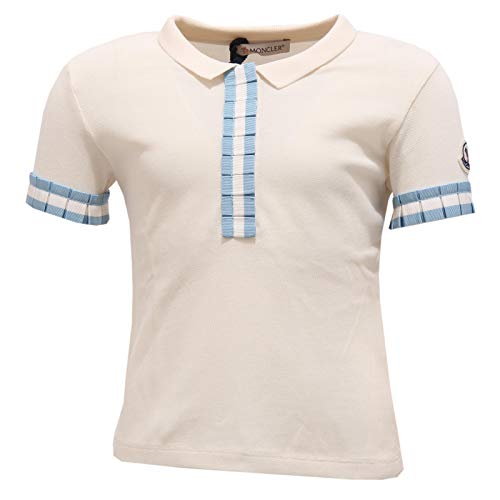 Moncler 7137Y Polo Girl Bimba Maglia Polo t-Shirt White/Light Blue [4 Years]