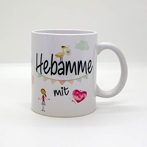 Kaffeebecher ~ Tasse - Hebamme mit Herz ~ Mädchen - Geburt - Kind~ Weihnachten Geschenk