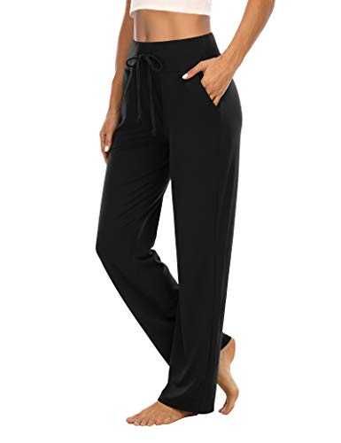THANTH Womens Yoga Sweatpants Loose Wide Leg Comfy Lounge Pajama Pants Drawstring Workout Joggers Pants with Pockets Black L