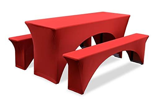 Set van 3 hoezen voor biertafelset 220×60 | Rood