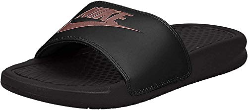 Nike Women's Benassi Just Do It Sandal, Black/Rose Gold, 8 Regular US